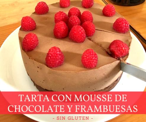 Tarta con mousse de chocolate y frambuesas 3